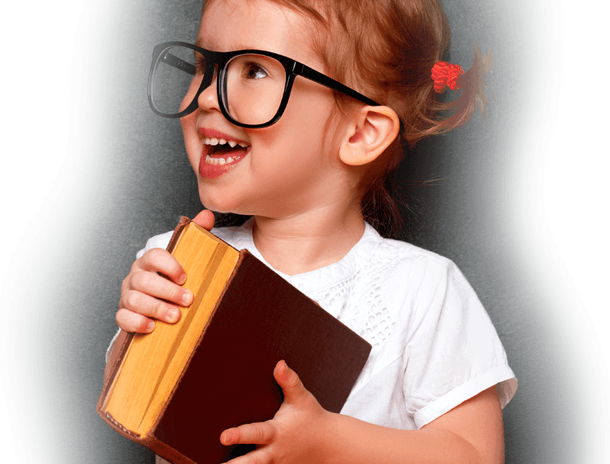 Girl with Glasses Holding a Book for Granby Childrens Nursery banner